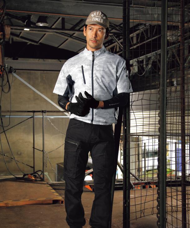 ジーベック 空調服 迷彩 半袖ブルゾン
